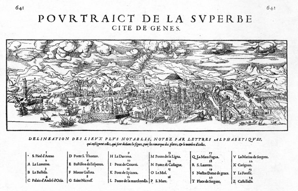 1575 - Portraict de la Superbe Cite de Genes -Francois de Belleforest da La Cosmografie Universel