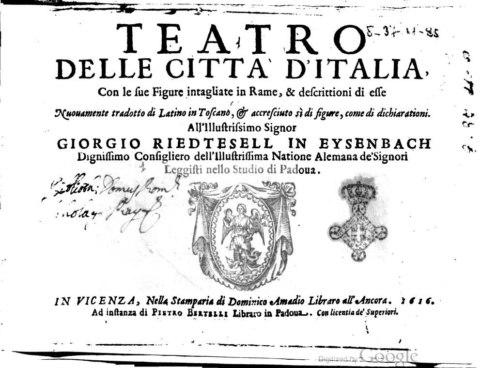 Teatro delle citta' d'Italia, con le sue figure intagliate in ra