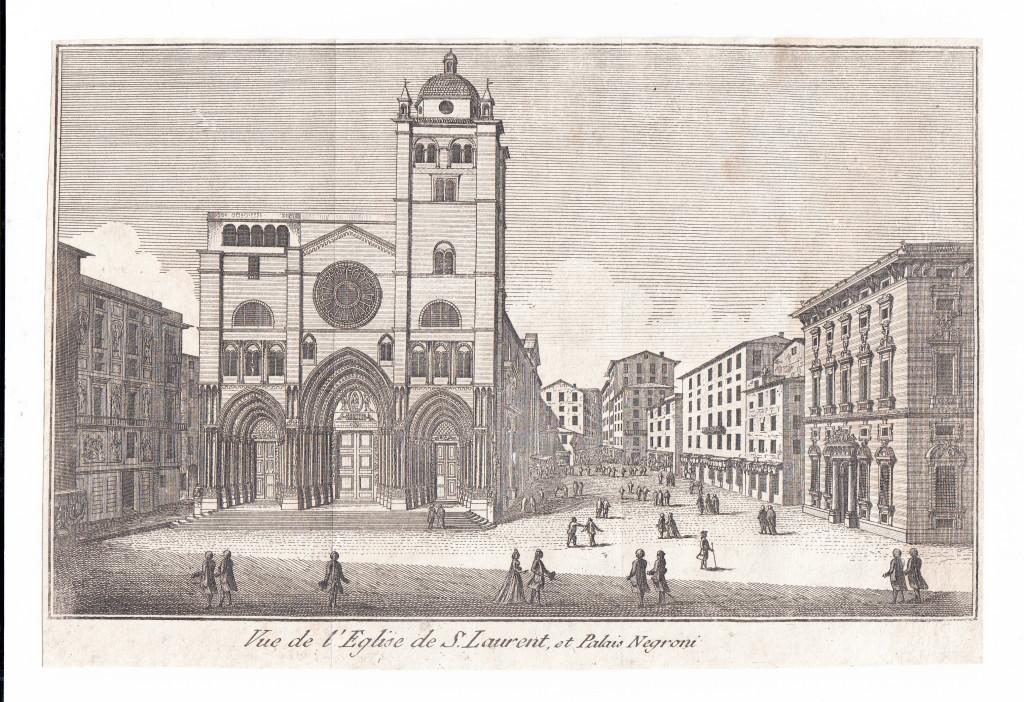 1781. Vue de l'Eglise de S. Laurent, et Palais Negroni.