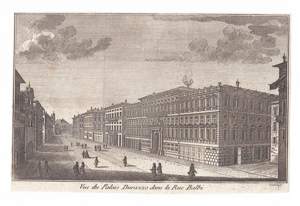 1781. Rue du Palais Durazzo dans la Rue Balbi. Guidotti sc.