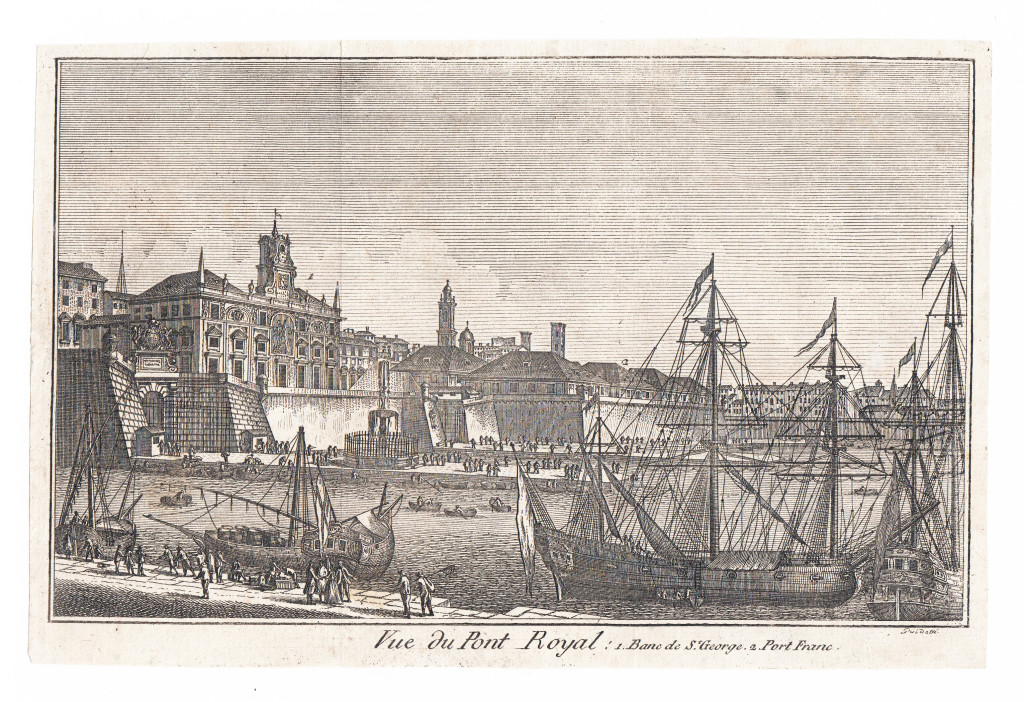 1781, Vue du Pont Royall: 1. Banc de S. George, 2. Port Franc. Guidotti inc.