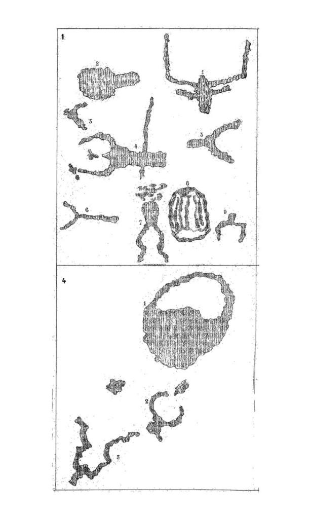 Fig. 2. Sculture preistoriche della Val d'Inferno. Da Blanc E., Sculptures préhistoriques du Val d'Enfer, 1878.
