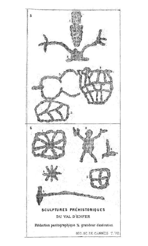 Fig. 4. Sculture preistoriche della Val d'Inferno. Da Blanc E., Sculptures préhistoriques du Val d'Enfer, 1878.