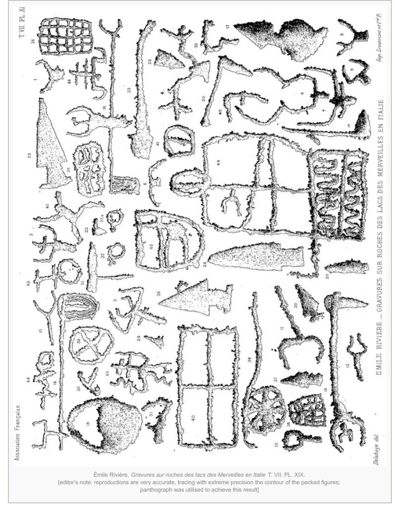 Émile Rivière, Gravures sur roches des lacs des Merveilles en Italie T. VII. PL. XIX.
