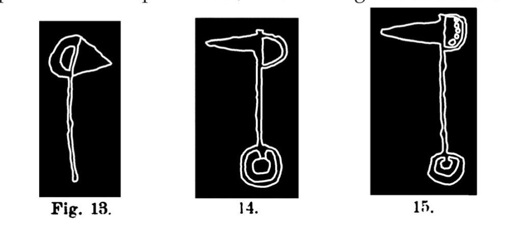 Fig. 13. Alabarda. Fontanalba. Assai ridotta (Bicknell). Fig. 14. Alabarda a doppio anello. Fontanalba. Assai ridotta (Bicknell). Fig. 15. Alabarda ad anello. Fontanalba. Assai ridotta (Bicknell).