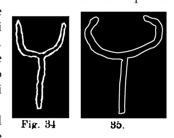 Fig. 34 e 35. Simboli di bovini. Fontanalba. Assai ridotte (Bicknell).