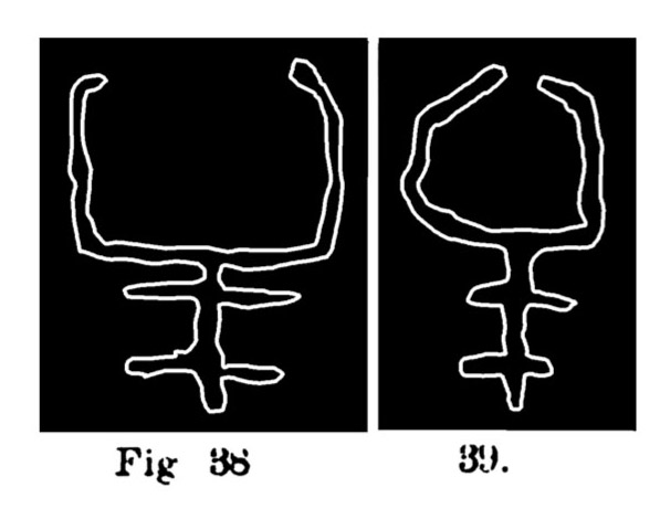 Fig. 38 e 39. Schemi o simboli di bovini. Fontanalba. Assai ridotti (Bicknell).