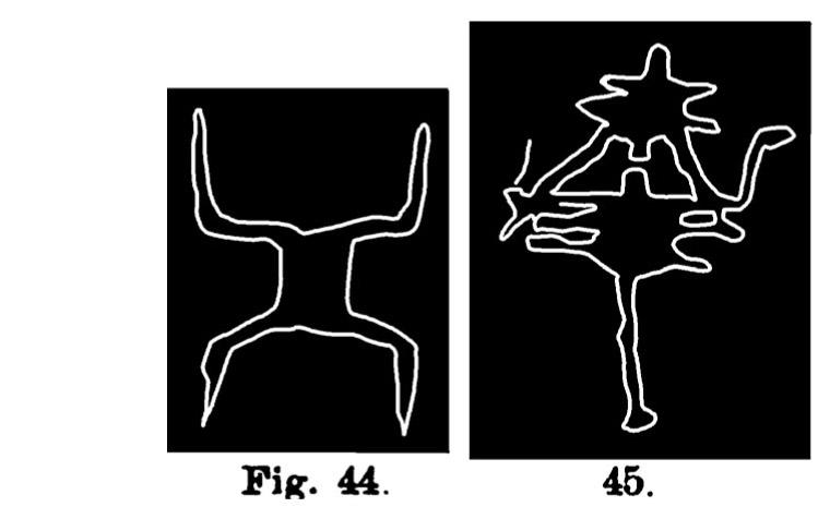 Fig. 44. Schema o simbolo di una coppia di bovini. Val d'Inferno. Assai ridotta (D'Albertis). Fig. 45. Schema di una coppia di bovini. Fontanalba. Assai ridotta (Bicknell).