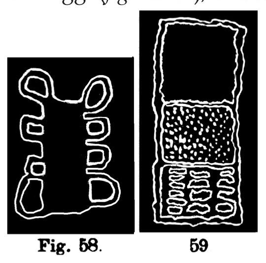 Fig. 58. Insegna. Fontanalba. Lunghezza dell'originale m. 0,24 (Bicknell). Fig. 59. Insegna. Fontanalba. Lunghezza dell'originale m. 0,33 (Bicknell).