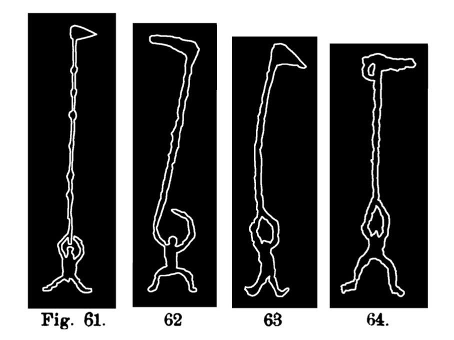 Fig. 61, 62, 63 e 64. Immagini di capi o di guerrieri. Fontanalba. Il n. 61 misura circa m. 028, il n. 64 circa m. 0,19, il n. 65 circa m. 0,50, il n. 67 circa m. 0,22, il n. 68 circa m. 0,165 (Bicknell).