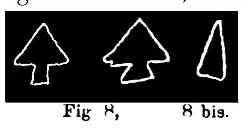 Fig. 8. Punte di frecce peduncolate. Fontanalba.  Fig. 8 bis. Cuspide di freccia non peduncolata. Fontanalba. Assai ridotte (Bicknell).