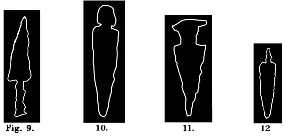 Fig. 9. Cuspide di lancia a lungo cannone. Fontanalba. Assai ridotta (Bicknell). Fig. 10. Cuspide di lancia. Fontanalba. Assai ridotta (Bicknell). Fig. 11. Pugnale, Val D'Inferno. Lunga circa m. 031. (Rivière). Fig. 12. Lama di pugnale. Fontanalba. Assai ridotta (Bicknell).